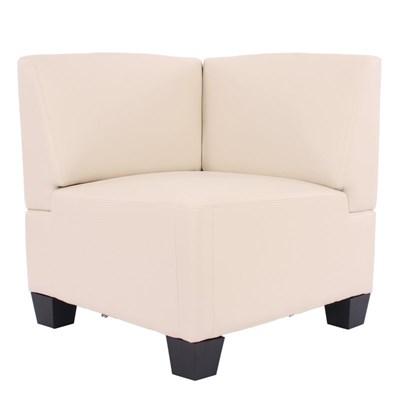 Sofa Modular LYON en 4 piezas + 1 Sofa individual, Gran acolchado, tapizado en piel color crema