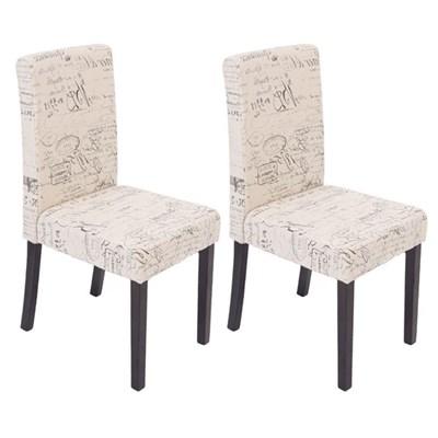 Precioso conjunto de 2 Sillas de Comedor DALI, Diseño Moderno, Crema con motivos, patas negras