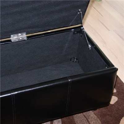 Banco con almacenamiento KIEN XXL, Piel sintetica Negra 180x45x45cm