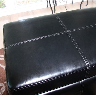 Banco con almacenamiento Kriens XXL, cuero, ~ 180x45x45cm negro