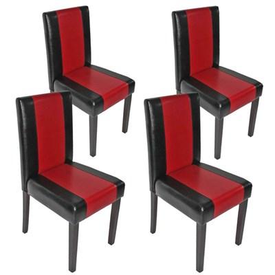Lote 4 Sillas de Comedor LITAU, precioso diseño, piel negro-rojo y patas oscuras