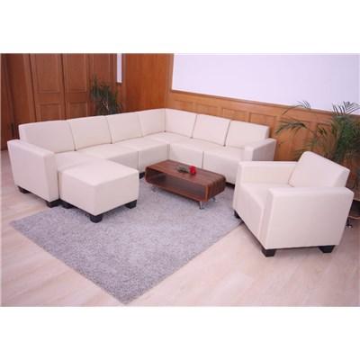 Sofa Modular LYON en 6 piezas + 2 Sillónes, Gran acolchado, tapizado en Piel sintetica crema