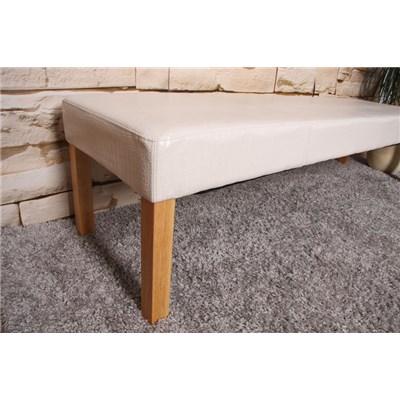 Banco M37 en madera y polipiel, dimensiones 120x43x49cm, color crema, patas claras