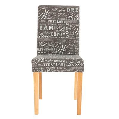 Lote 2 Sillas de Comedor DALI, precioso diseño en tela Gris con Firmas y patas claras