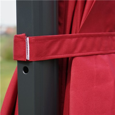 Sombrilla / Parasol IDRA CON SOPORTE, de 3 x 3 metros, color Burdeos , Ajustable, Cruz de suelo Incluida