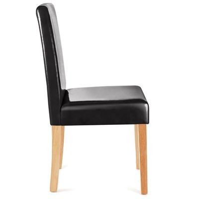 Bonito Conjunto de 6 Sillas de Comedor LITAU, Gran diseño, En Piel Negra, patas claras