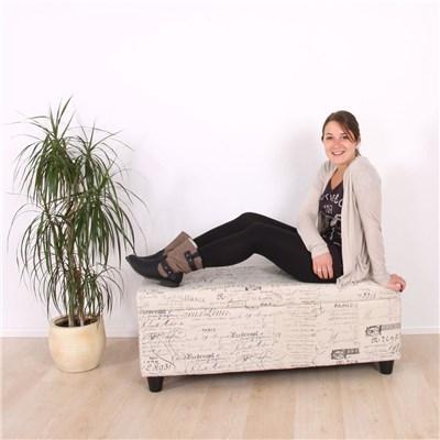 Arcón Banco Relax KRIEN, en tela, Muy confortable,112x45x45cm, Negro