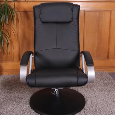 Sillón Relax N44, Máxima Comodidad, reclinable, en 2 piezas, tapizado en piel color negro