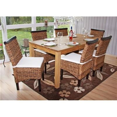 Lote 4 Sillas de comedor o Jardín M45 en madera mimbre marrón y patas oscuras (cojines incluidos)