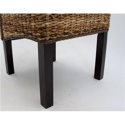Lote 4 Sillas de comedor SABANA, en madera y mimbre color marrrón oscuro (cojines incluido)