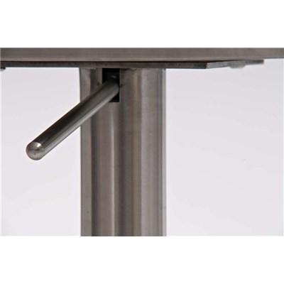 Taburete de Diseño Para Barra PARANA, En Piel Gris y Estructura en Acero Inoxidable, Máxima Calidad