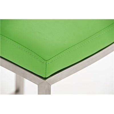 Taburete de Bar LINCON, estructura de acero inoxidable, muy resistente, en piel verde