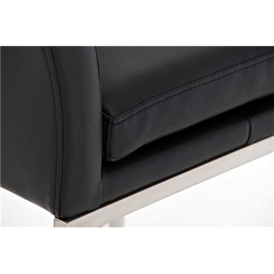 Taburete de Diseño NOA en acero, gran acolchado, ámplio asiento y respaldo, piel color negro