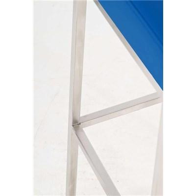 Taburete para Barra o Bar CANADA 80cm, Asiento en Piel Azul y Estructura en Acero Inoxidable