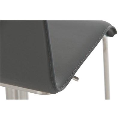 Taburete para Bar o Cocina EVA, estructura en acero, exclusivo diseño, altura ajustable, en piel gris