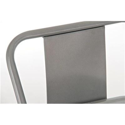Taburete de Diseño MEISON, en Color Gris Plata, Fabricado en Metal, Con Respaldo