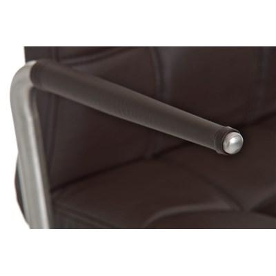 Taburete para Bar JULIETA, Estructura en Acero Inoxidable, gran Calidad, tapizado en piel marrón