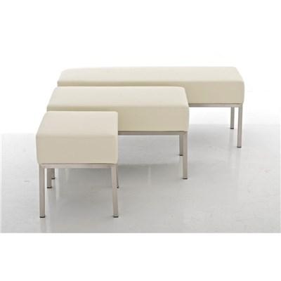 Banco de 3 plazas MARA, En Piel Crema y Estructura de Acero Inoxidable, 120x 40 cm