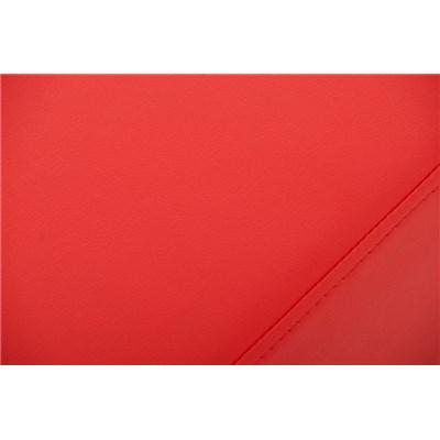 Banco de 3 plazas MARA, En Piel Roja y Estructura de Acero Inoxidable, 120x 40 cm
