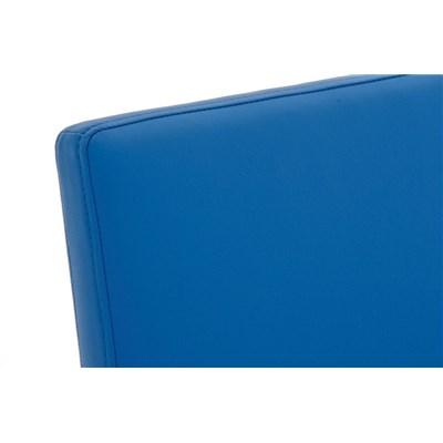 Taburete de Diseño ISAIA, En Piel Azul y Estructura de Acero Inoxidable, Apoyabrazos Integrados