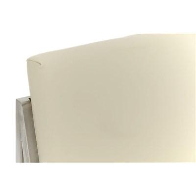Taburete Para Barra MALAK, En Piel Crema y Estructura de Acero Inoxidable, Gran Calidad