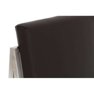 Taburete Para Barra MALAK, En Piel Marrón Oscuro y Estructura de Acero Inoxidable, Gran Calidad
