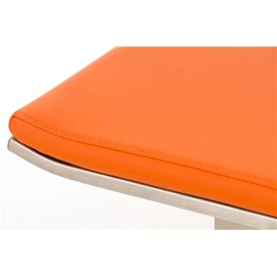 Taburete de Bar LAMA 78, estructura en acero, diseño ergonómico, en piel color naranja