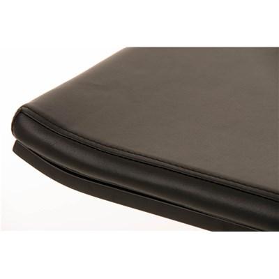 Taburete de Bar LAMA 78, estructura metálica en negro, diseño ergonómico, en piel color negro