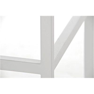 Taburete para Barra o Bar CANADA 85cm, Asiento en Piel Naranja y Estructura en Metal Blanco