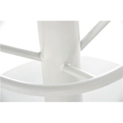 Taburete de Bar o Cocina LARA, En Tela Crema y Estructura Metálica en Blanco