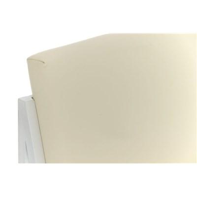 Taburete Para Barra MALAK, En Piel Crema y Estructura Metálica en Blanco, Gran Calidad