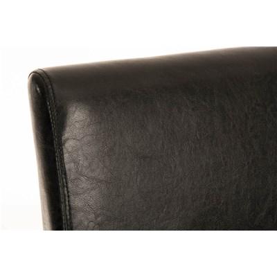 Taburete de madera IRENE, estructura en madera negra, asiento y respaldo acolchados en piel negro