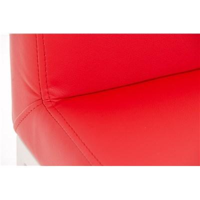 Taburete para Bar LUCIUS D, estructura metálica en blanco mate, altura asiento 76cm, en piel rojo
