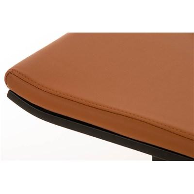 Taburete de Bar LAMA 78, estructura metálica en negro, diseño ergonómico, en piel color marrón claro