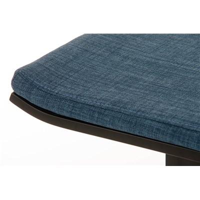 Taburete de Bar LAMA 78 Tela, estructura metálica en negro, diseño ergonómico, en tejido color azul