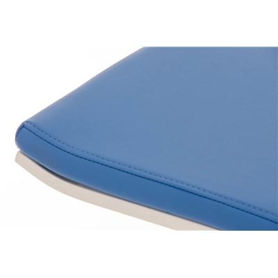 Taburete de Bar LAMA 78, estructura metálica en blanco, diseño ergonómico, en piel color azul