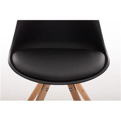 Lote 2 Sillas TAYLOR, Color Negro, Patas de Madera Claras, Asiento en Piel, Diseño Exclusivo