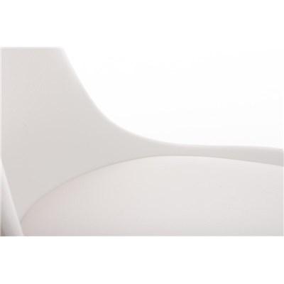 Lote 4 Sillas TAYLOR, Color Blanco, Patas de Madera Oscuras, Asiento en Piel, Diseño Exclusivo