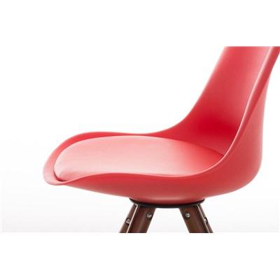 Lote 4 Sillas TAYLOR, Color Rojo, Patas de Madera Oscuras, Asiento en Piel, Diseño Exclusivo
