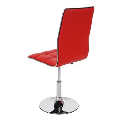 Lote 2 Sillas de Comedor o Cocina ROGER, En Piel Color Rojo, Altura Regulable, Precioso diseño con Costuras