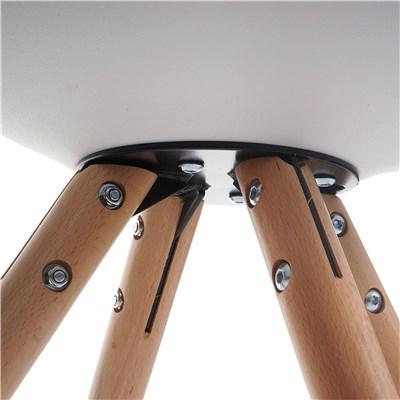 Lote 6 Sillas de Diseño CAROL, en Blanco y Patas Claras, Asiento Acolchado