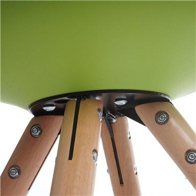 Lote 6 Sillas de Diseño CAROL, en Verde y Patas Claras, Asiento Acolchado
