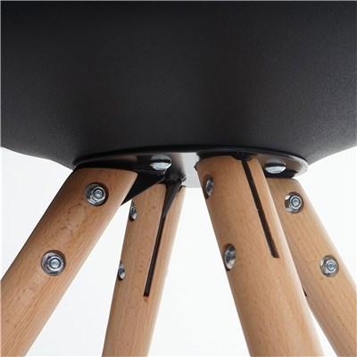 Lote 6 Sillas de Diseño CAROL, en Negro y Patas Claras, Asiento Acolchado