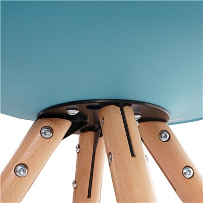 Lote 6 Sillas de Diseño CAROL, en Turquesa y Patas Claras, Asiento Acolchado