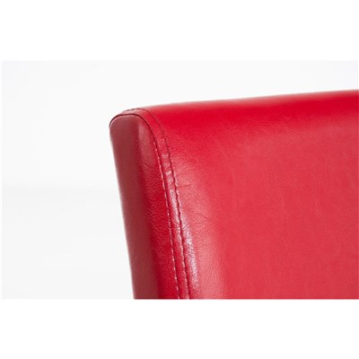 Lote 6 Sillas de Comedor CAPRI, Piel Roja y Patas Oscuras, Muy Cómodas y Resistentes