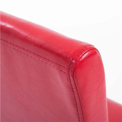 Lote 4 Sillas de Comedor CAPRI, Piel Roja y Patas Claras, Muy Cómodas y Resistentes