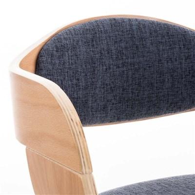 Lote de 6 sillas de Comedor BOLONIA, en Tela Azul, Estructura de Madera color Natural