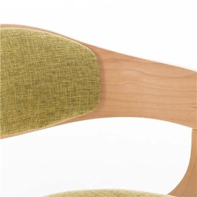 Silla de Comedor BOLONIA, en Tela Verde, Estructura de Madera color Natural