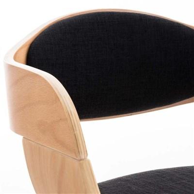 Lote de 6 sillas de Comedor BOLONIA, en Tela Negra, Estructura de Madera color Natural
