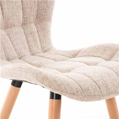 Lote de 4 sillas de Comedor PADUA, en Tela Crema, Patas de Madera color Natural